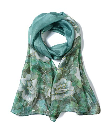 0c7b72933d38f Invisible World Women's Long Satin Scarf Monoflower Celadon