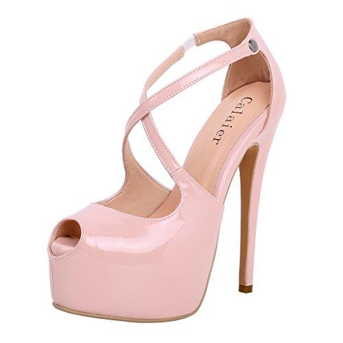 Calaier Donna Cagroup Calde Sposa Alta Qualità Stiletto Scarpe Alla Moda 16CM Tacco A Spillo Fibbia Scarpe col tacco, rosa, 37