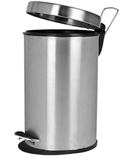 Meet Stainless Steel Plain Peddle Dustbin / Plain Garbage Bin with Plastic Bucket – 11 Ltr , Large Size