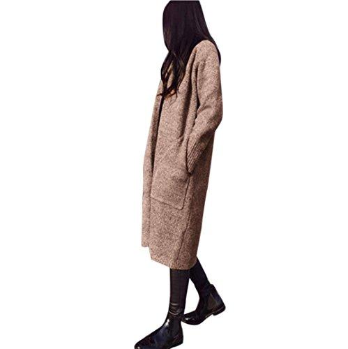Mantel Strickjacke Damen Ronamick Lang Cardigan Langarm mit Taschen Oversized lose Strickmantel Outwear Mantel (Khaki)