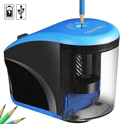 Temperamatite elettrico resistente helical blade ufficio temperamatite per no. 2/matite colorate (6–8mm), usb/a batteria, per la scuola/ufficio/kids/artisti con contenitore