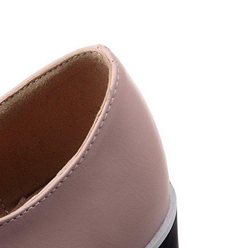 VogueZone009 Donna Allacciare Tacco Alto Luccichio Puro Ballerine Rosa