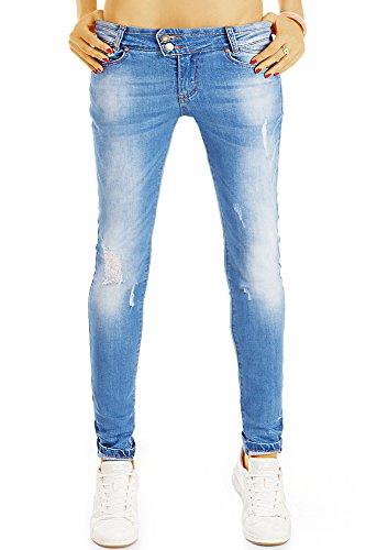 bestyledberlin Damen Skinny Fit Jeans, Enge Hüftjeans, Used Look Röhrenjeans j30g 38/M