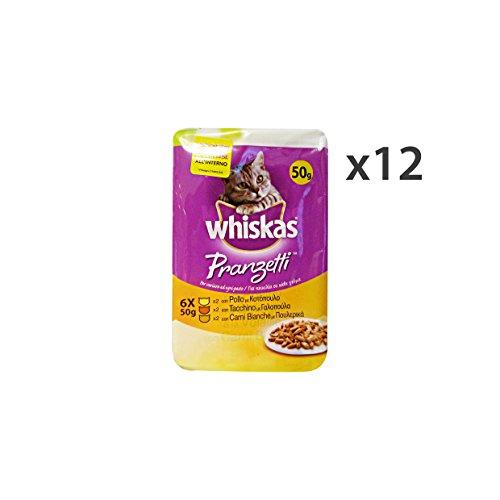 Whiskas Set 12 PRANZETTI X 6 Bustine Pollo-Tacchino Carni Bianche AE14B Cibo per Gatti