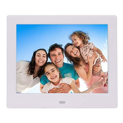 FSM88 8 Zoll-Digital-Bilderrahmen, LED-elektronisches Foto-Album-Superregal-Werbungs-Maschine, verwendbar für Hochzeits-Geburtstags-Geschäfts-elektronisches Geschenk,White