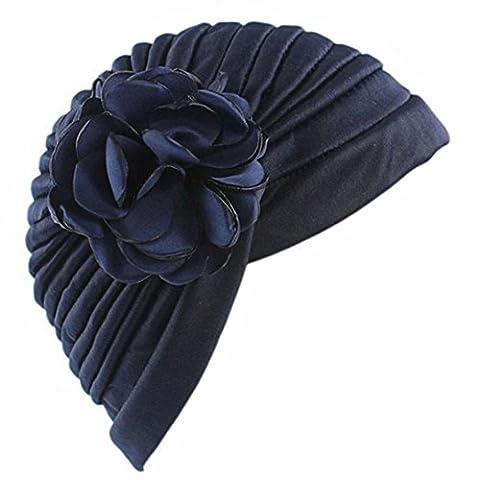 CYBERRY.M Femme fleur indienne Turban extensibles chapeau chimio Cap cheveux écharpe HeadwrapFemme fleur indienne Turban extensibles chapeau chimio Cap cheveux écharpe Headwrap (Couleur marine)