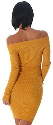 Jela London -  Vestito  - Astuccio - Basic - Maniche lunghe  - Donna Ocra
