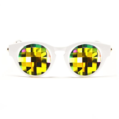 GloFX Katzenaugen-Kaleidoskop Brille - weiß - Bug Auge Kaleidoskop Echtglaskristalle