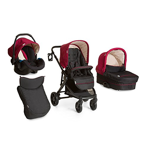 Hauck Atlantic Plus Trio Set Travel System, from Birth to 22 Kg, Red (Group 0+ Car Seat, Compatible with Optional ISOFix Base, Carry Cot and Raincover)
