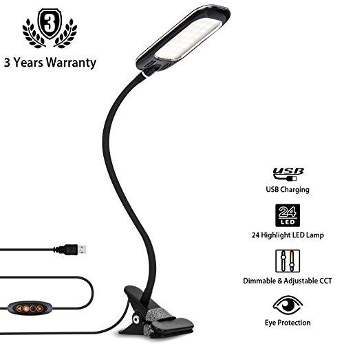 Foto de LVWIT Lámpara Flexo LED de Pinza - 5W máx (regulables), Color regulable desde 3000K hasta 6000K. Flexo clip con Cuello flexible - Versión Negra.