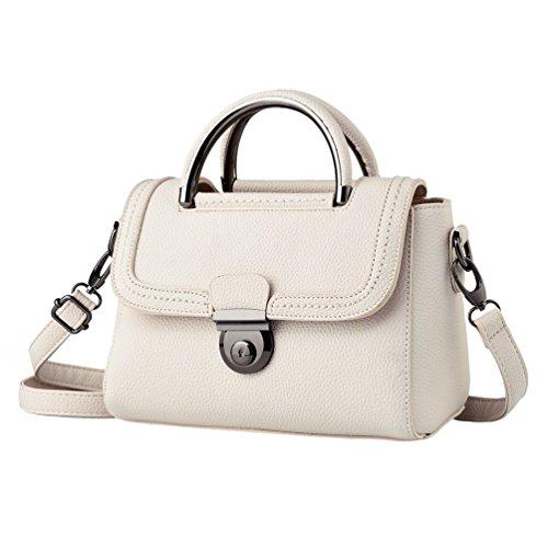 YAANCUN Donna Borsa Di Pelle Sintetica Top Handle Bag Cartella Della Spalla Bianca
