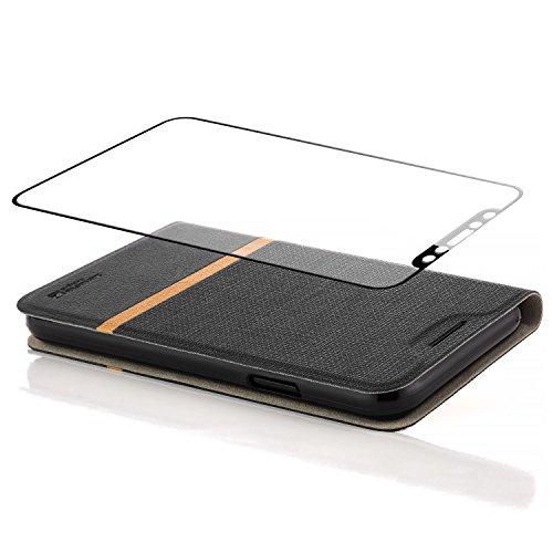 Custodia iPhone X Cover + Vetro Temperato Flip Wallet [zanasta Designs] Case Copertura con Portafoglio Alta Qualità [3D Full Coverage] Grigio Nero