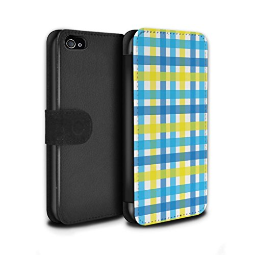 Stuff4 Coque/Etui/Housse Cuir PU Case/Cover pour Apple iPhone 4/4S / Chaud Plage Rayures Design / Mode Jaune Collection Tisser/Vichy