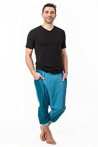- Sarouel pantacourt babacool homme pur coton leger bleu zen - Bleu