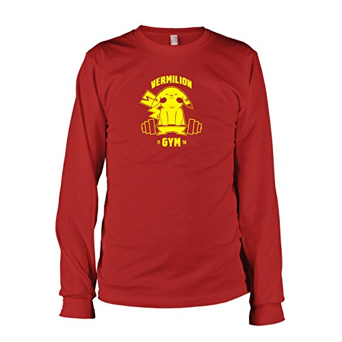 Herren Langarm T-Shirt, Größe XXL, rot (Pokemon Alpha Saphir Pikachu Kostüme)