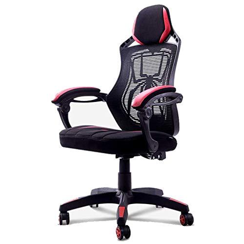 Gaming Stuhl, Bürodrehstuhl E-Sport Stuhl Heimcomputer Stuhl Schmetterling Spinne Straße Spiel Stuhl Mesh Bürostuhl Rot Schwarz WEIYV (Color : Black red, Size : 110-117.5cm) -