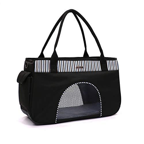 DLDL Soft-Sided Pet Carrier, Haustierreisetasche | Gemütliches und weiches Hundebett | Einstellbarer, sicher zusammenlegbarer Zwinger für Katzen und kleine Hunde, schwarz,S (Fluggesellschaft Genehmigt Hund Zwinger)