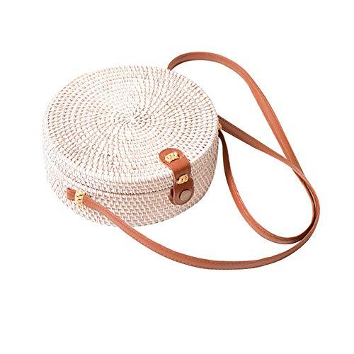 gaeruite Sommer Strandtasche für Mädchen Frauen, handgemachte Runde Rattan Woven Stroh Handtasche Stroh geflochtene Tasche Picknick Tasche Umhängetasche (weiß) - Woven Damen Tasche