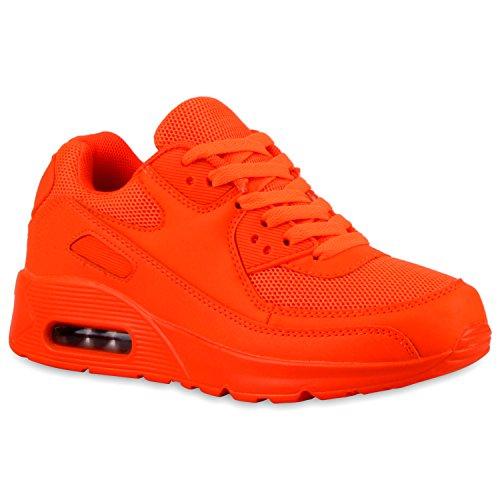 Stiefelparadies Damen Sport Lack Sneakers Schnürer Sneaker Low Lauf Runners Neon Leder-Optik CamouflageGlitzer Schuhe 110750 Neonorange 36 Flandell