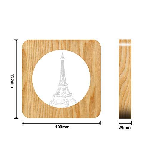 Eiffelturm Holz acryl nachtlicht tischlampe Schalter Steuerung Gravur Lampe für kinderzimmer Dekoration Tropfen