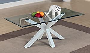 Langley Satin Blanc Haute Brillance Table basse rectangulaire