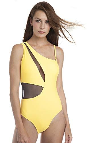 SOL Y PLAYA - Bañador Bikini Trikini una Pieza un Hombro asimétrico Transparencias Sexy...