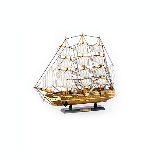 Guve Modello di Barca a Vela in Legno, Stile Marino in Legno Modello Ornamento Nautico Decorazione Desktop per la casa,(L*W*H) 50 * 7.5 * 43cm