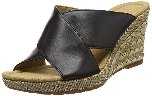 Gabor Purpose, Sandales Compensées femme Noir (Black Leather/Bast)