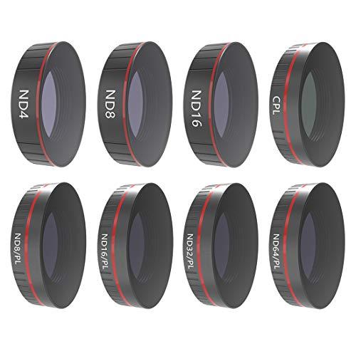 TETAKE Filter 8-teilig Wert für Geld für DJI OSMO Action Cam Kamera: ND4, ND8, ND16, CPL, ND8/PL, ND16/PL, ND32/PL, ND64/PL