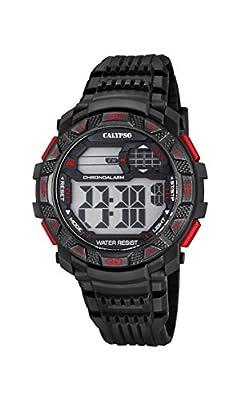Calypso Hombre Reloj Digital con Pantalla LCD Pantalla Digital Dial y Correa de plástico en Color Negro k5702/5 de Calypso