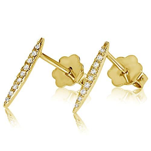 Pendientes Mujer Oro y Diamantes - Oro Amarillo 9 Quilates 375 ♥ Diamantes 0.07 Quilates - joyas de fantasía para mujer