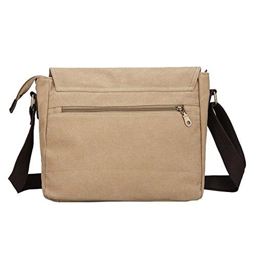 Super moderno da uomo, in tela, borsa a tracolla messenger bag laptop computer bag Satchel bag Bookbag School bag, borsa a tracolla, Uomo, Black Large Khaki Large