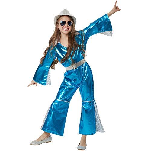 dressforfun 900495 - Mädchenkostüm glitzerndes Disco Starlet, Einteiler aus neonblauem Glanzstoff inkl. Gürtel (140 | Nr. 302366)