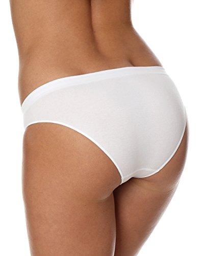 BRUBECK® 5x BI00043 COMFORT COTTON Damen Bikini Slip | Perfect Fit | Nahtlos | Unterwäsche | Sport | Funktionswäsche | Baumwolle | Polyamid | Premium Qualität White / A
