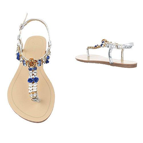 Zehentrenner Damenschuhe Peep-Toe Zehentrenner Schnalle Ital-Design Sandalen / Sandaletten Blau Silber