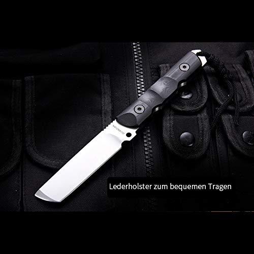 NedFoss EDC Tanto Messer Defender, Jagdmesser scharf, D2 Messer mit G10 Griff, 59-60HRC, Outdoormesser, Extra scharf(Schwarz) -