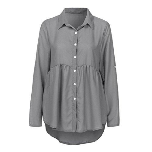 Donne Camicetta,EUZeo Plus size solido turn-down collare chiffon ol lavoro Top T Shirt Grigio