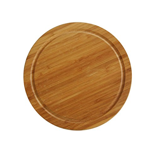 Axentia tagliere in bambù, carne piatto rotondo per cucina e a casa,–tagliere con scanalatura, circa 30x 30x 1,3cm, marrone