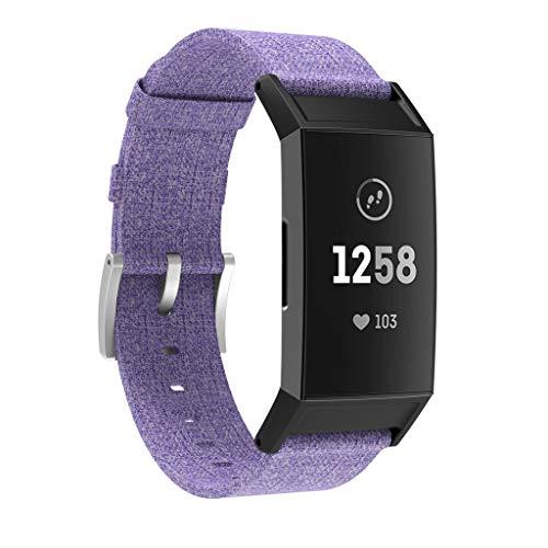 BZLine für Fitbit Charge 3 Watch Armband, Luxus Gewebte Leinwand Einstellbar Armband Strap Band Ersatz Uhrenarmband für Fitbit Charge 3