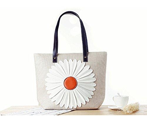 GUMO-Spiaggia sacchi, borse a tracolla, borse di tela, grossi sacchi, sacchetti di paglia, onorevoli,bianco White