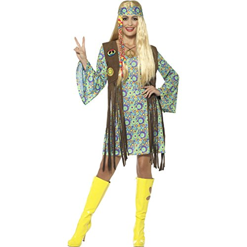 NET TOYS Hippie Kostüm Damen Flower Power Kleid XL (46/48) 70er Jahre Kleidung Frau Boho Karnevalskostüm