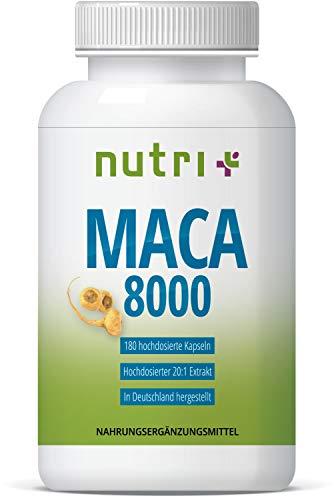 MACA 8000 hochdosiert - 180 Kapseln - Original 20:1 Extrakt aus Wurzel-Pulver - ohne Magnesiumstearat - für Männer und Frauen - vegan - Premiumqualität in Deutschland hergestellt