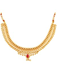 Womens Trendz Broad Moti Thushi Gold Plated Chain Necklace For Women