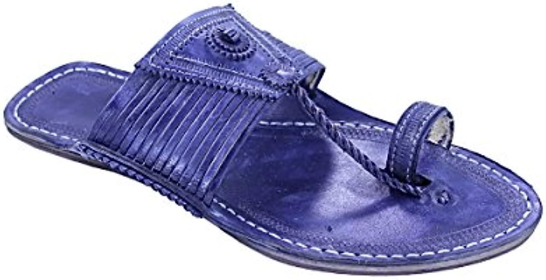 KOLHAPURI CHAPPAL Original Beautiful Look Dark blu Fourteen Laces Designer's Ladies Slipper Sandal | adottare  | Uomini/Donne Scarpa