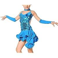 Feoya - Vestido Danza Latina Niña Traje Lentejuela Baile Tango Salsa  Deportivo Salón con Accesorios d7668fac3f9
