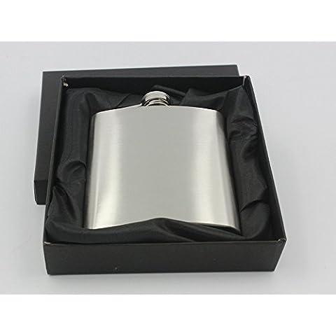 T&S/ 7 onzas. cadera frasco de acero inoxidable cepillado botella de fino acero inoxidable liso.