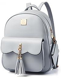 Women Vintage Tassel Backpack Handbags, Faux Leather Casual Daypack Travel Rucksack, Small School Bag for Teenage Girls