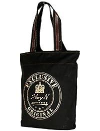 Exclusive Black Color Canvas Tote Shoulder Bag Stylish Shopping Casual Bag Foldaway Travel Bag