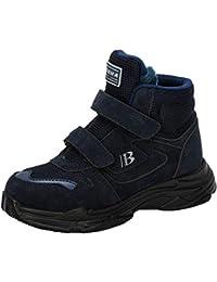 2020 Botines para niños otoño e Invierno cómodos Cuero Felpa cálidos Botas para niños Zapatos al Aire Libre Zapatillas de Plataforma Plana Antideslizantes