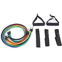 Shuzhen,11 unids/Set Natural Tube Ejercicio Bandas estiradas Elasticidad Cuerda de tracción Yoga Pilates Cordaje de Entrenamiento(Color:Colormix)
